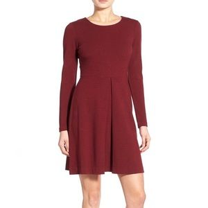 Madewell Gia Concept Fit Flare Dress Burgandy
